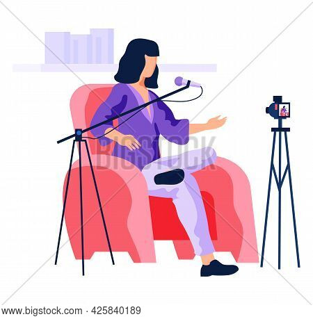 Radio Presenter Is Recoding Video Podcast, Broadcasting On Camera. Female Character Is Working With