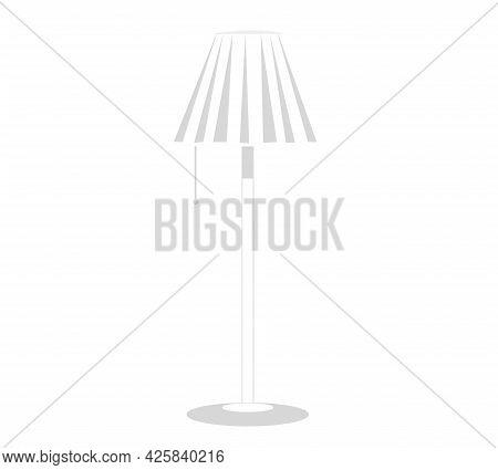High Floor Lamp On Long Leg With Fabric Top. Cartoon Decoration For Interior Design Of Room. Room Li