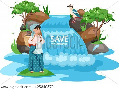 Ecological Concept, Save The Waterfall. Female Character Stands With Jug Near Mountain River. Woman