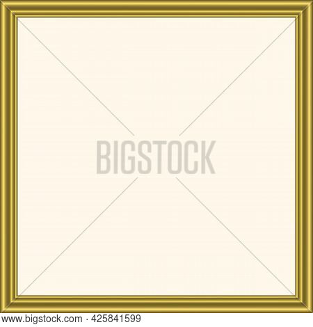 Squared Golden Vintage Wooden Frame For Your Design. Vintage Cover. Place For Text. Vintage Antique