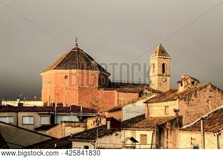 Panoramic Of Alborea Village At Sunrise. Old Church In The Background