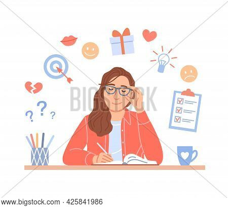 Girl Diary Concept On White Background. Cute Young Person Writes Plan, Aims, Ideas, Notes, Creative