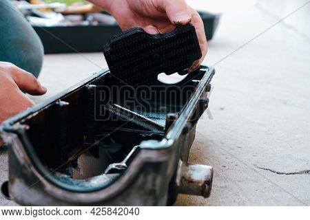 Car Repair. Internal Combustion Engine Repair. Resin Deposits From Low-quality Oil On The Valve Cove