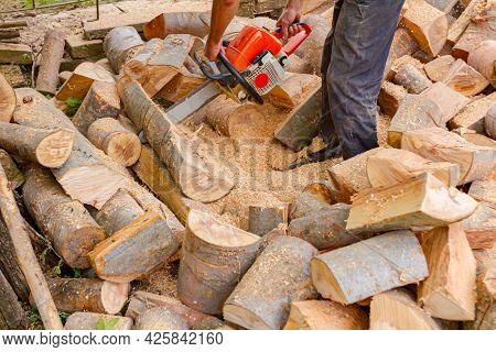 Lumberjack Is Chopping Tree Trunks In The Yard Using Professional Chainsaw And Throws Them On The Pi