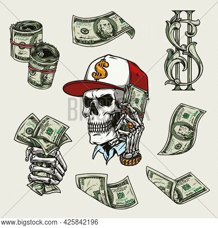 Money Vintage Colorful Concept With One Hundred Dollar Bills And Sign Skull In Baseball Cap Skeleton