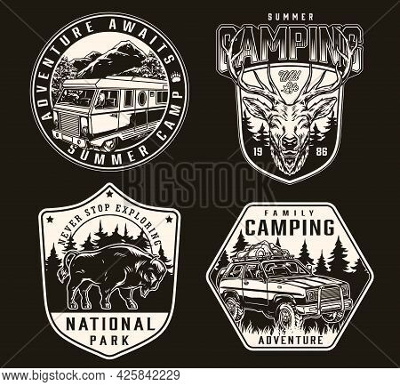 Summer Camping Vintage Labels In Monochrome Style With Motorhome Travel Car With Tourist Equipment O