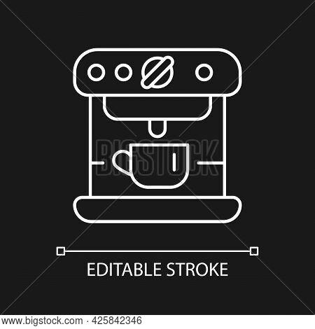 Espresso Machine White Linear Icon For Dark Theme. Commercial Appliance For Cafe. Thin Line Customiz