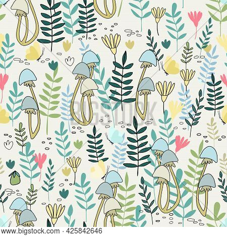 Seamless Pattern With Summer Forest Vector Illustrations In Cartoon Style For Children