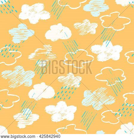 Seamless Pattern With Abstract Yellow Sky, Clouds, Rain In Childs Drawing Style