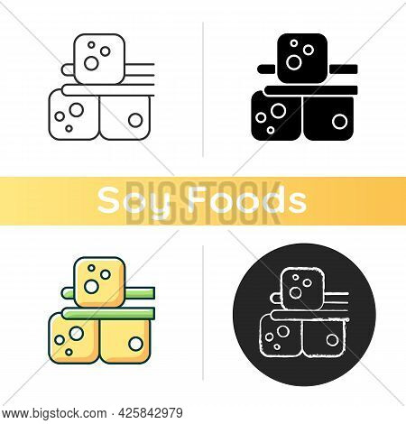Tofu Icon. Food Made Of Soy Milk. Vegeterian Ingredients For Cooking. Helthy Diet. Cheese Types. Veg