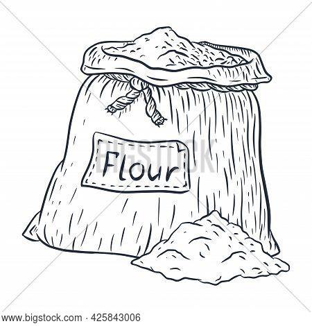 Burlap Bag With Flour Line Art. Hand-drawn Full Sack Of Flour Engraved Vector Illustration For Emble