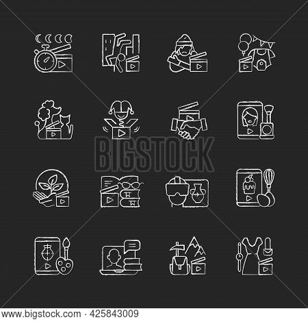 Videography Chalk White Icons Set On Dark Background. Business Footage. Online Classes For Education