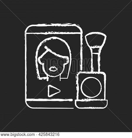 Make Up Tutorial Videos Chalk White Icon On Dark Background. Beauty Vlog. Online Creator On Women St