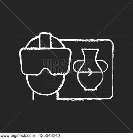 Vr Chalk White Icon On Dark Background. Virtual Reality For Interactive Classes. Innovative Film Pro