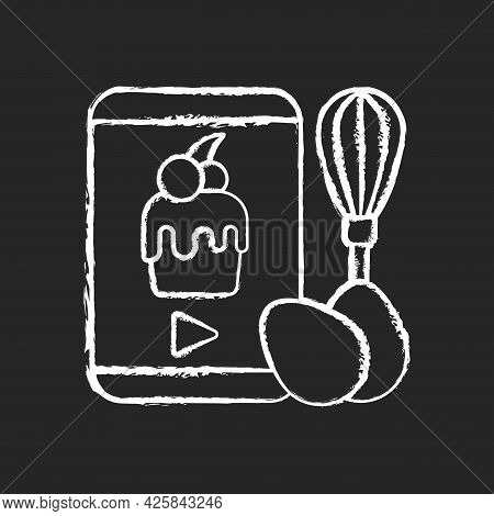 Cooking Video Chalk White Icon On Dark Background. Culinary Courses Online. Cookery School For Learn