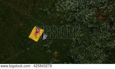 A Girl In A Pink Bathing Suit Sunbathes On A Yellow Rug. Around Green Grass And White Flowers. Aeria