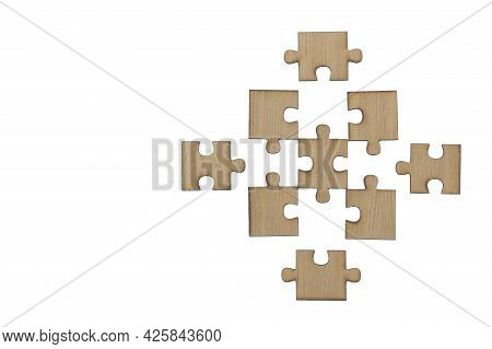 Wooden Jigsaw Puzzle, Pieces Of A Puzzle, Last Jigsaw Puzzle, Isolated On White Background