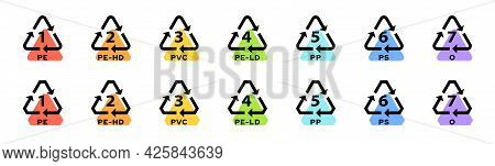 Set Of Badges For Marking Plastic. Industrial Marking Of Plastic Products. Code System Signs For Pla