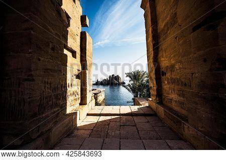 Egypt nil Temple of Isis on Agilkia island, moved from Philae island, Aswan, Egypt. Ancient, histori