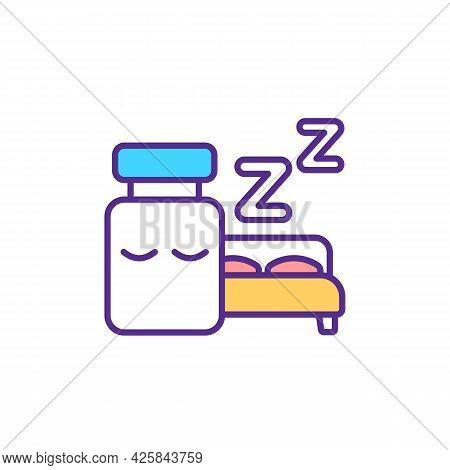 Pills For Sleep Disorder Rgb Color Icon. Sleep-inducing Medication. Isolated Vector Illustration. Da
