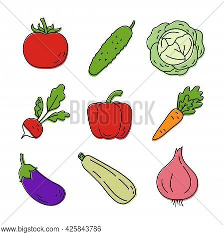 Vegetable Sketch. Color Simple Icon. Hand Drawn Vector Set. Tomato, Cucumber, Cabbage, Radish And Pe