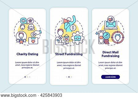 Fundraising Kinds Onboarding Mobile App Page Screen. Charity Dating Walkthrough 3 Steps Graphic Inst