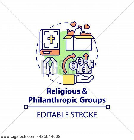 Religious And Philanthropic Groups Concept Icon. Fundraising Abstract Idea Thin Line Illustration. C
