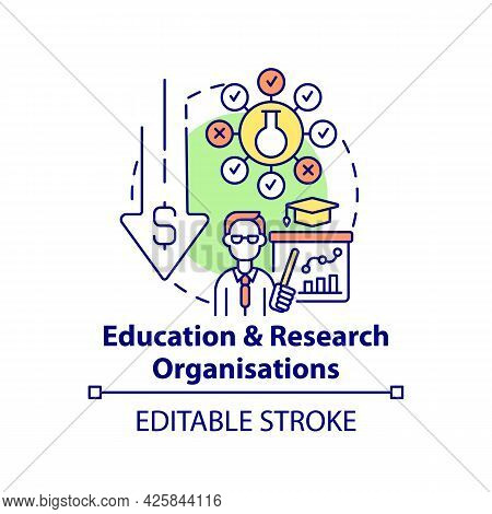 Education And Research Organizations Concept Icon. Fundraising Type Abstract Idea Thin Line Illustra