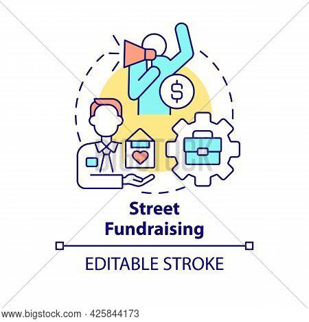 Street Fundraising Concept Icon. Charity Event Abstract Idea Thin Line Illustration. Asking For Dona