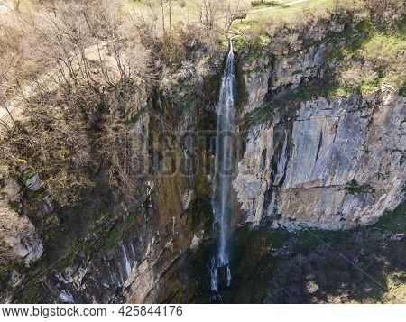 Aerial View Of Skaklya Waterfall Near Village Of Zasele, Balkan Mountains, Bulgaria