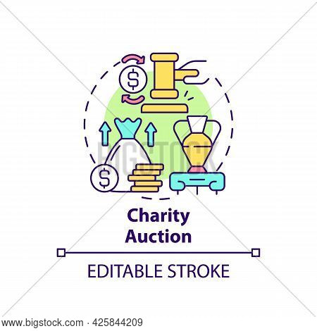 Charity Auction Concept Icon. Fundraising Event Abstract Idea Thin Line Illustration. Raising Financ