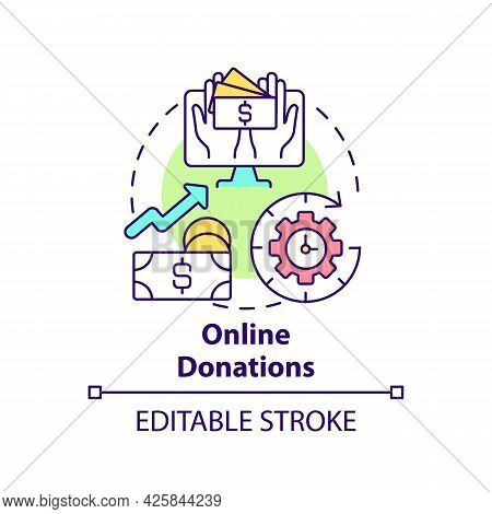 Online Donations Concept Icon. Fundraising Event Abstract Idea Thin Line Illustration. Raise Money V