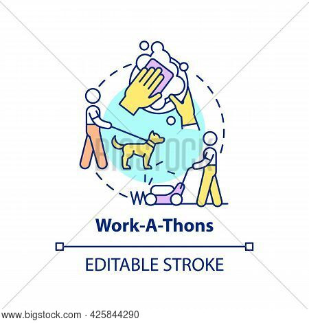 Work-a-thons Fundraiser Concept Icon. Fundraising Appeal Abstract Idea Thin Line Illustration. Assis
