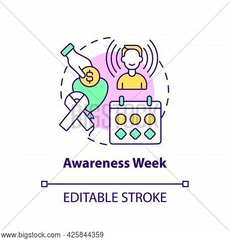 Awareness Week Fundraiser Concept Icon. Fundraising Campaign Abstract Idea Thin Line Illustration. R