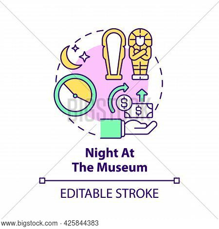 Night At Museum Fundraiser Concept Icon. Fundraising Campaign Abstract Idea Thin Line Illustration.