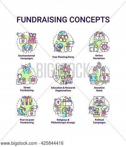 Fundraising Concept Icons Set. Gathering Financial Support Idea Thin Line Color Illustrations. Envir