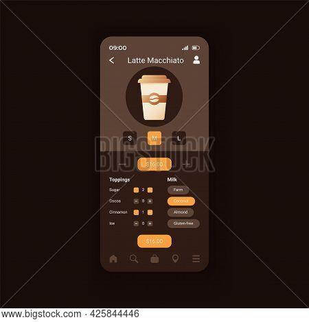 Latte Macchiato Preparation Smartphone Interface Vector Template. Making Perfect Coffee. Mobile App