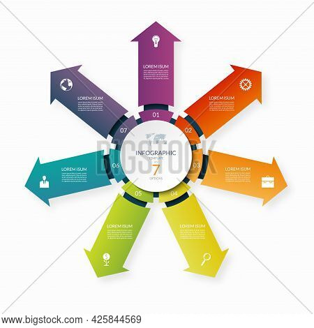 Modern Business Infographic Circle With 7 Arrows Pointing From The Center. 7-step Vector Template Fo