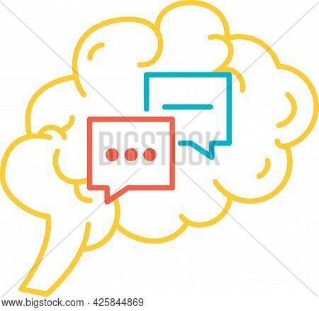 Function Communication Of Human Brain Icon Vector