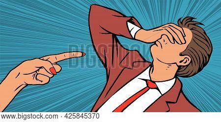 Illustration Of A Woman Boss Reprimanding A Man
