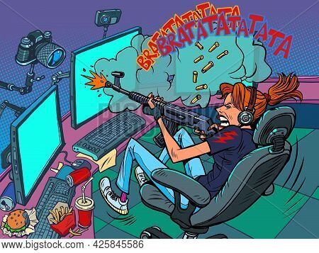 Gamer Girl Streamer, Online Broadcast. Shooting From Virtual Weapons, Tournament