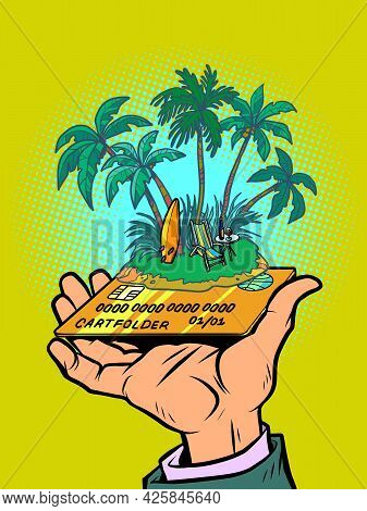 Tropical Island With An Umbrella And A Sun Lounger, Credit Or Debit Bank Card