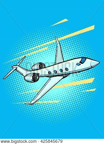 Private Jet Passenger Plane. Speed And Business Prestige