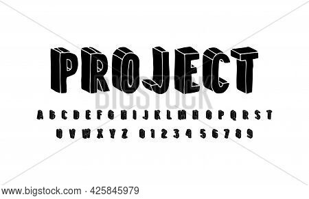 Bulk Sans Serif Font In The Style Of Hand Drawn Graphic. Letters And Numbers For Emblem, Logo And Ti