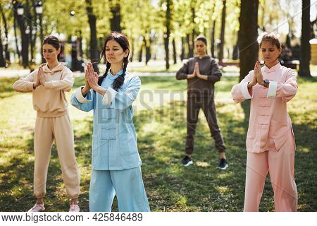 Praying Pose, Performed By Group Of Tai Chi Learners