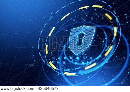 Glowing Antivirus Shield Icon On Blue Web Page Background. Safety And Protection Concept. 3d Renderi
