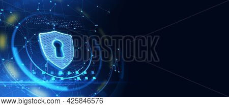 Glowing Antivirus Shield Icon On Blue Web Page Background With Mock Up Layout. Safety And Protection