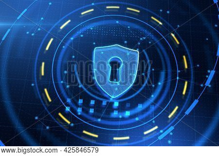 Abstract Antivirus Shield Icon On Blue Web Page Background. Safety And Protection Concept. 3d Render