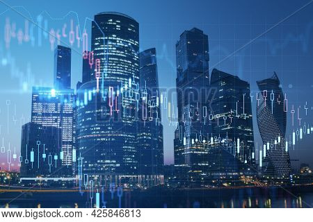 Night City Background With Glowing Forex Graph And Skyline. Market Growth And Stock Concept. Double