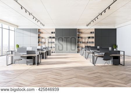 Modern Coworking Office Interior With Wooden Flooring, Concrete Walls, Windows With Panoramic City V